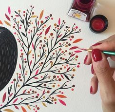 having so much fun painting this leaves with this awesome inks / pintando hojitas otoñales con estas increíbles tintas compradas en mi paraíso personal Watercolor And Ink, Watercolour Painting, Painting & Drawing, Watercolors, Drawing Poses, Guache, Fabric Painting, Doodle Art, Painting Inspiration