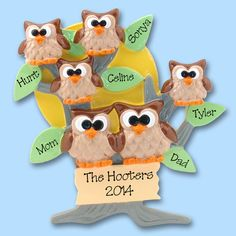 HOOT OWL Family of 6 Hand Painted RESIN by PersonalizedOrnament