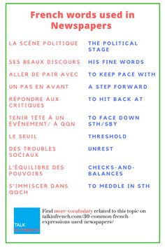 Now you can read French newspapers with great ease because here is the list of words and expressions commonly used in French newspapers. A PDF format is also available for free download. Get it here: https://www.talkinfrench.com/30-common-french-expressions-used-newspapers/