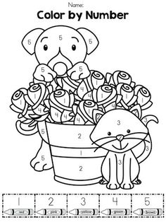 color by number part of the valentines day kindergarten math worksheets packet - Coloring Sheet For Kindergarten