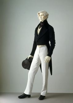 Suit 1840s The Victoria & Albert Museum.  Buttons in a zipper fashion?  No flap?