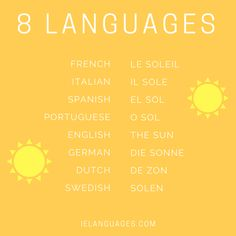 "How to say ""the sun"" in 8 languages: French, Italian, Spanish, Portuguese, English, German, Dutch, and Swedish"