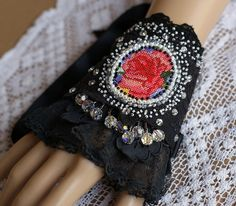 Gothic Shabby chic wrist cuff wristlet antique by KingaDesign