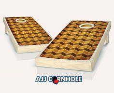 """Retro Stained Multi Chevron"" Cornhole Set Product Details | AJJ Cornhole"