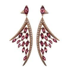 Shaun Leane has used 8.5cts of marquise-cut pink tourmalines to create these Aerial earrings (£12,500). Discover the story of this romantic French gemstone-cut: http://www.thejewelleryeditor.com/jewellery/marquise-cut-gemstones-create-contrast/ #jewelry #style