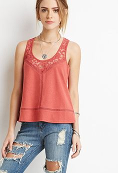 Embroidered Mesh-Paneled Tank | Forever 21 - 2000173359