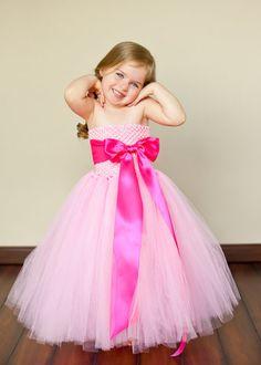 30aa8fe8ba1 light pink flower girl dresses - idea of higher bow with full taffeta  bottom Girls Frock
