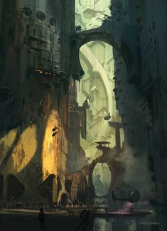 """Shiva"" by Thom Tenery, via CGHub.   Beautiful scifi urban landscape. I love the juxtaposition of organic shapes and man-made forms. Beautiful use of light.    This illustration is for Scott Robertson's book ""Blast"". More of Thom's work can be found here: http://www.thomlab.com/"