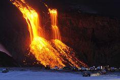 Volcanic eruption on Fimmvorduhals in Iceland by Stefnisson