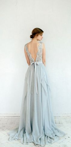 Dusty blue beauty >> #weddinggown #wedding designed by Carousel Fashion