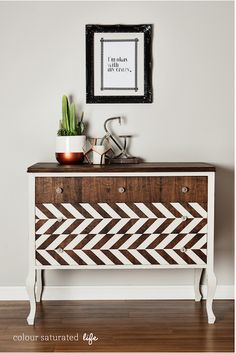 Antique Dresser Gets The Herringbone Treatment