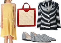 Mixed patterns; black and white stripes with yellow gingham and red accents