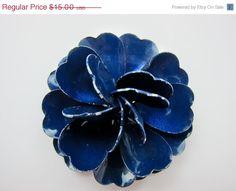 CIJ SALE Vintage Flower Brooch Dark Blue Enamel by Violasvintages, $12.75