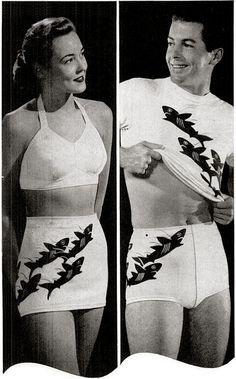 His & hers matching shark bathing swim suits.