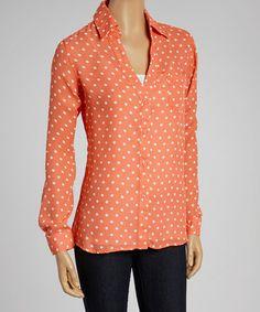Look at this #zulilyfind! Coral & White Polka Dot Button-Up by Larsen Grey #zulilyfinds