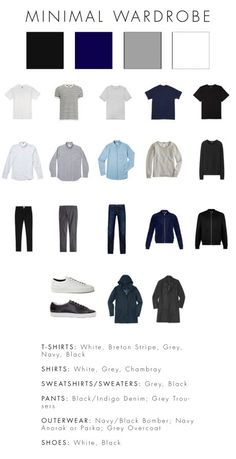 Some male fashion advice: A basic, minimal wardrobe - Best minimal fashion styles delivered right to you ! Visit us now for great deals, ideas and products ! Capsule Wardrobe Men, Mens Wardrobe Essentials, Men's Wardrobe, Simple Wardrobe, Preppy Wardrobe, Beach Wardrobe, Wardrobe Basics, Wardrobe Ideas, Minimalist Wardrobe Men