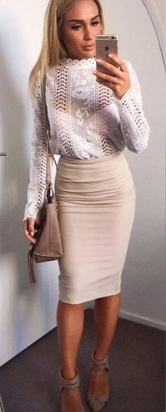 #muraboutique #label #outfitideas | White Lace Top + Nude Pencil Skirt