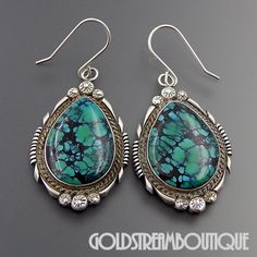 VINTAGE NAVAJO STERLING SILVER SPIDERWEB TURQUOISE TEAR DROP HOOK EARRINGS
