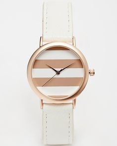 Nail two trends with this striped rose gold watch. With a classic round dial and leather-look strap, this ASOS watch is a simple addition any outfit.