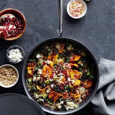 This farro salad showcases bounty of the fall farmer's market, combining both roasted and raw vegetables, like butternut squash, cauliflower and kale.