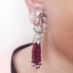 Great for the holidays: ruby bead and diamond earrings by David Webb. #christies…