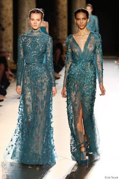 Ellie Saab Teal wedding gown # wedding dress Ellie Saab. Love the one on the right.