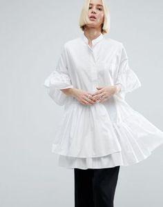 ASOS WHITE Layered Frill Hem Oversize Shirt
