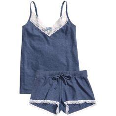 H&M Pyjamas (335 MXN) ❤ liked on Polyvore featuring intimates, sleepwear, pajamas, lingerie, pyjamas, dark blue, lingerie sleepwear, h&m, h&m lingerie and lingerie pajamas