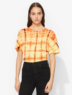 Proenza Schouler draw inspiration from contemporary art and youth culture for their collections. Made from superfine Japanese cotton, this T-shirt features a custom developed tie-dye print, a crew neck, short sleeves and a relaxed fit. Japanese Cotton, Tie Dye T Shirts, Tie Knots, Proenza Schouler, Black N Yellow, Short Sleeves, Mens Fashion, Youth Culture, Women