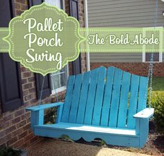 #DIY Porch Swing made from reclaimed pallets and standard porch swing plans. By @gwendolyn gibbish interior designer @ gray + gold design Whitfield
