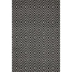 Add eclectic appeal to your entryway or patio with this hand-woven rug, showcasing a concentric diamond motif in black and ivory.