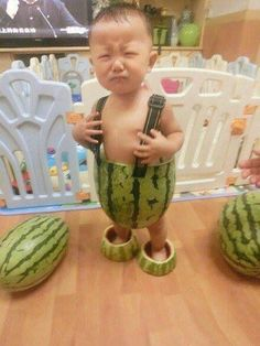 If you don't stop crying you're going to have to wear watermelons for clothes. #bestpunishmenteverrr