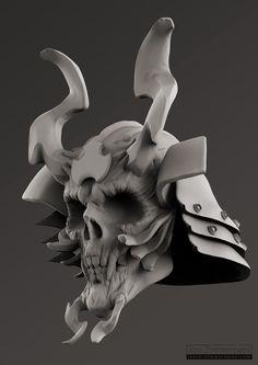 samurai skull clay render by jzimmermann