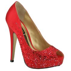 Benjamin Adams Salvador Red Evening Shoes - Wedding Shoes - Crystal Bridal Accessories. //To whom it may concern, I need these shoe for my wedding day.