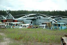 Irradiated giant helicopters and vehicles at Rassorva, Chernobyl (Chornobyl, Чорнобиль ) region, Kyiv Oblast, Ukraine