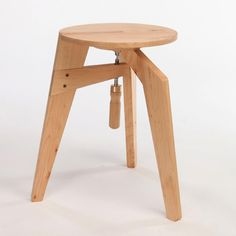 DANIEL GLAZMAN, CLAMPED STOOL: clamp integrated directly into the third leg and holding the others on as well. #daniel_glazman #furniture #wood photo by oded antman