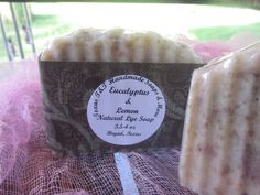 Handmade in Bryan Texas.  Cold Process Eucalyptus & Lemon Natural Lye Soap 3.5-4oz .     You will get one of these awesome soaps.   INCI Ingredients: Lye, Distilled Water, Coconut Oil, Castor Oil, Natural African Black Soap, Palm Oil, Cocoa Butter, Mica, Essential Oil    Grassy green notes with lemon-like aroma.                                                                                                                                                                                    ...