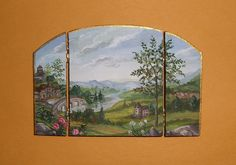 Dollhouse Miniature Hand Painted Fire Screen Landscape Decor 1:12 L. Lassige