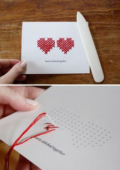 Paper Embroidery Ideas Hearts Stitched Together Card - Free PDF Printable Tutorial for Stitching. Embroidery Cards, Learn Embroidery, Embroidery Patterns, Valentine Day Crafts, Be My Valentine, Paper Cards, Diy Cards, Sewing Cards, Homemade Cards