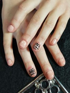 gel Polish nude nails with stripes