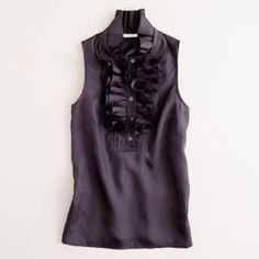 Navy blue Ruffled top from J.Crew Navy blue J.crew silk top. This is the perfect spring/summer color. This would be great with the white J.Crew crops I have for sale J. Crew Tops Blouses