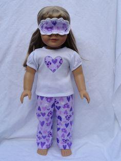 American Girl Doll heart pajamas! So cute!