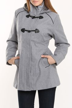 $27.99 Yoki Wool Jacket With Hood In Gray -