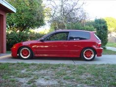 1995 JDM red Honda Civic Eg on offset phat reds
