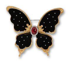 A black jadeite, ruby, coloured diamond and diamond butterfly brooch x