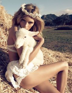 Magazine: Vogue Nippon March 2010 Title: The Farmer's Daughter Model: Anja Rubik Photographer: Camilla Akrans Anja Rubik, Lauren Hutton, Vogue Japan, Estilo Country, Harper's Bazaar, Little Bo Peep, Foto Real, Vogue China, Farmer's Daughter