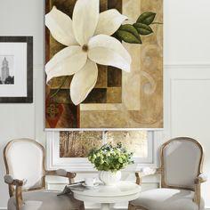 White Flowers Printed Roller Blind  #rollerblinds #homedecor #interiordesign