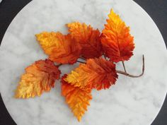 Vintage 1950s millinery trim 5 orange rust velvet leaves with paper wrapped wire