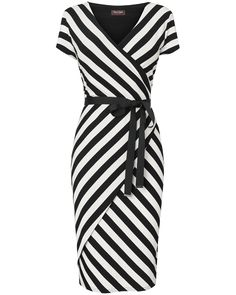 Phase Eight - Black/Ivory Coco Stripe Wrap Dress