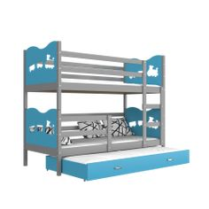 One of the strongest beds on the market. Bunk bed for adults and children. High quality solid pine wood bunk bed with roll-out bed for 3 person complete with.